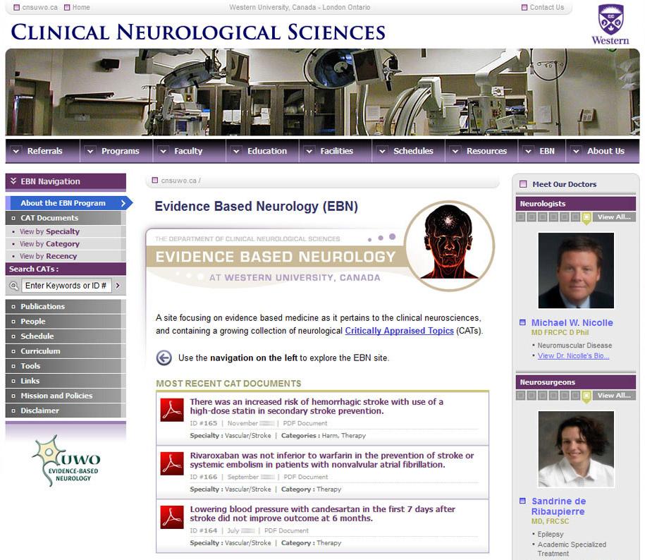 Clinical Neurological Sciences Evidence-Based Neurology Website