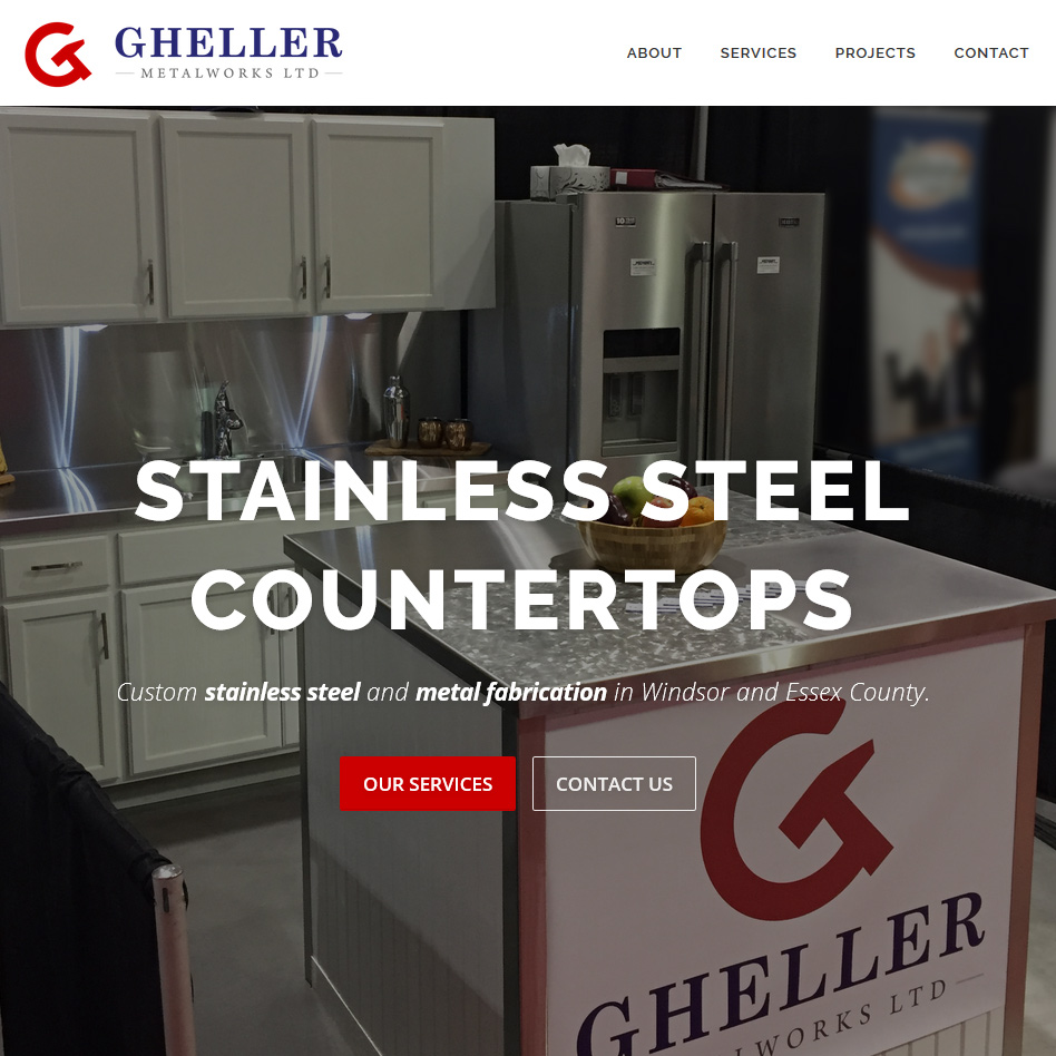 Gheller Metalworks Website Home Page