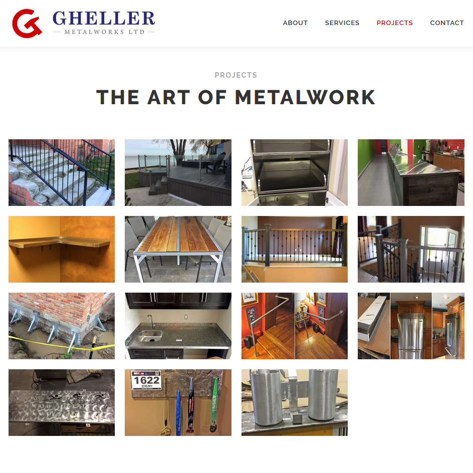 Gheller Metalworks Website Project Portfolio