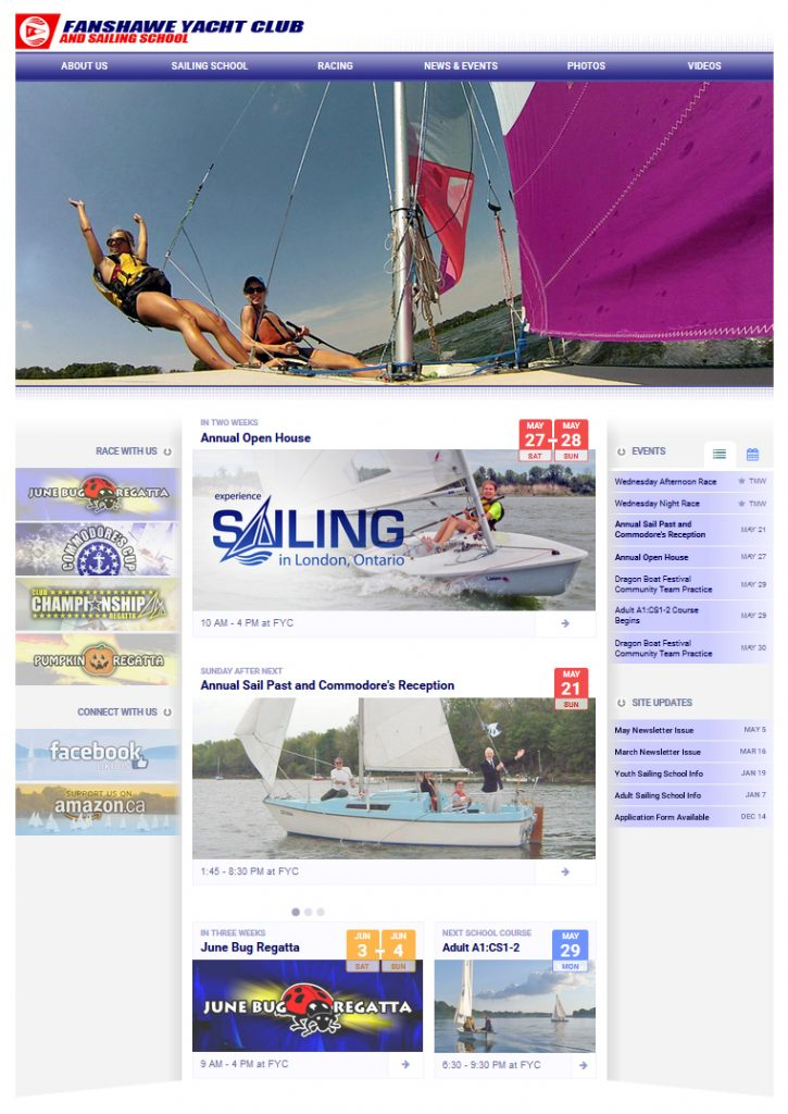 London Sailing Club Website Home Page
