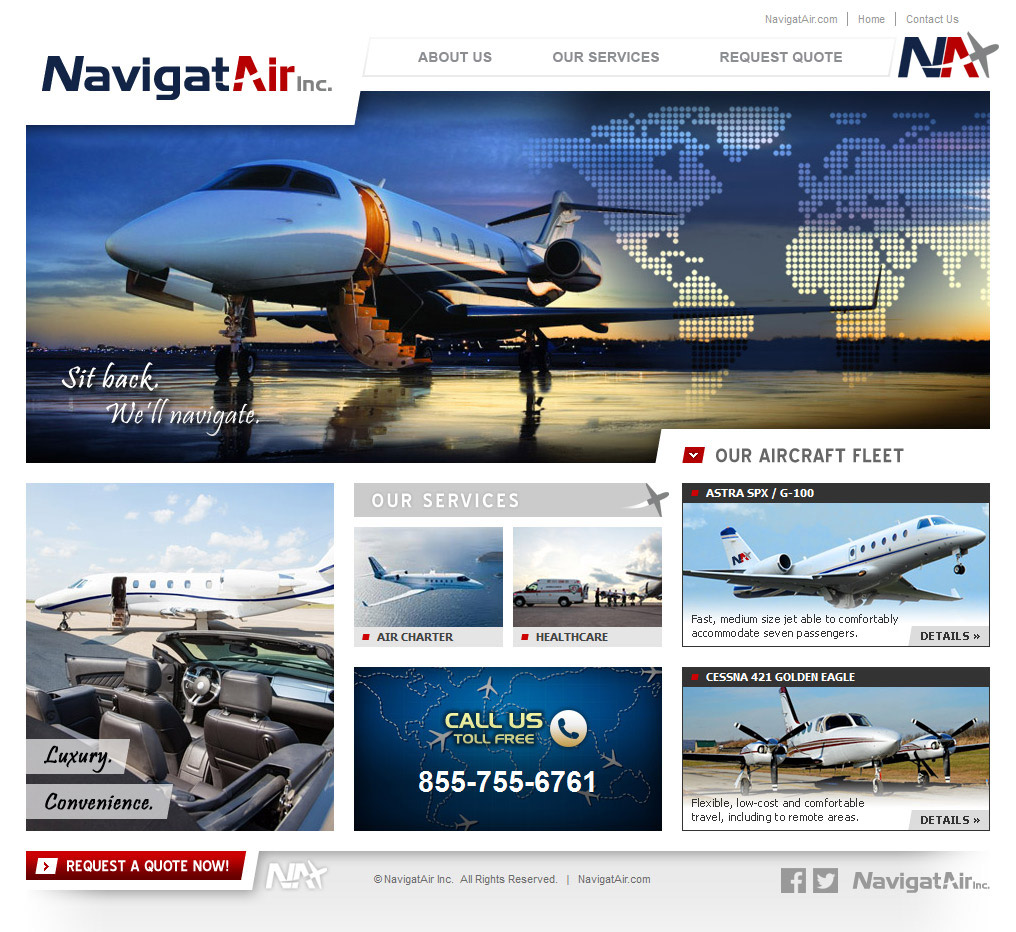 NavigatAir Website Home Page