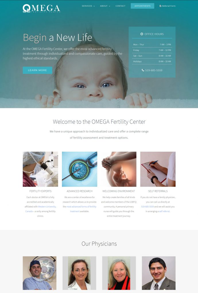 OMEGA Fertility Center Website Home Page